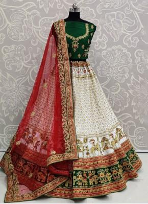 Silk Embroidered Trendy Lehenga Choli in White