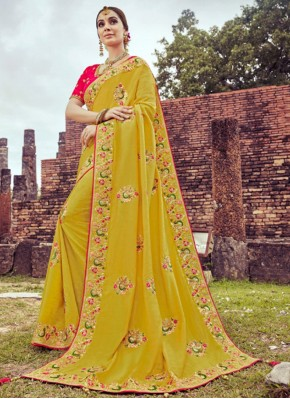Silk Embroidered Yellow Shaded Saree