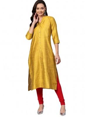 Silk Fancy Yellow Party Wear Kurti