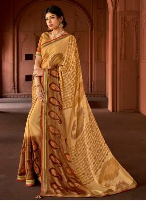 Silk Floral Print Cream Printed Saree