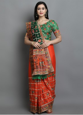 Silk Green and Orange Patola Print Designer Traditional Saree