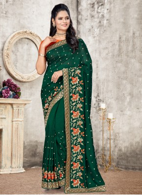 Silk Green Embroidered Designer Traditional Saree
