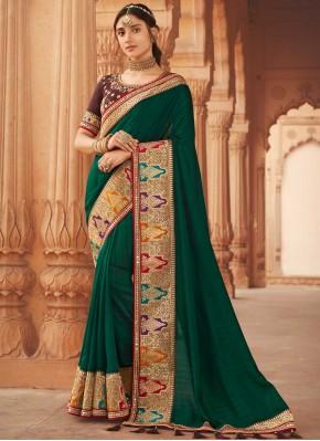 Silk Green Embroidered Traditional Designer Saree