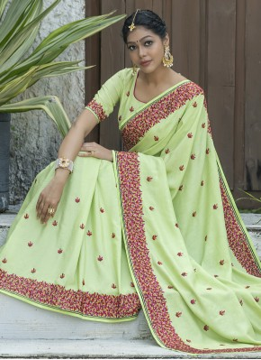 Silk Green Embroidered Traditional Saree