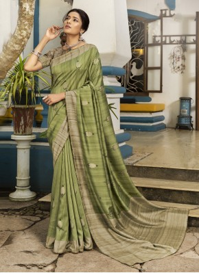 Silk Green Printed Traditional Designer Saree