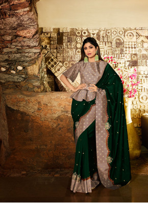 Silk Green Resham Traditional Designer Saree