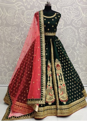 Silk Green Trendy Lehenga Choli