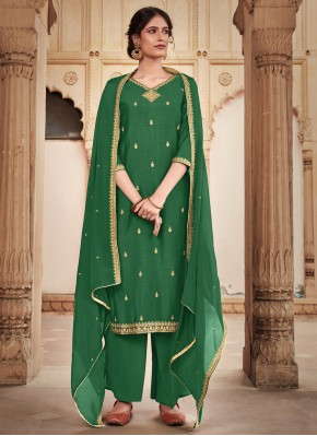 Silk Green Trendy Salwar Kameez