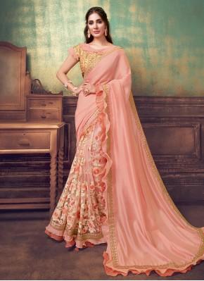 Silk Hot Pink Resham Designer Saree