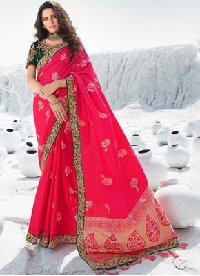 Silk Lace Pink Designer Saree