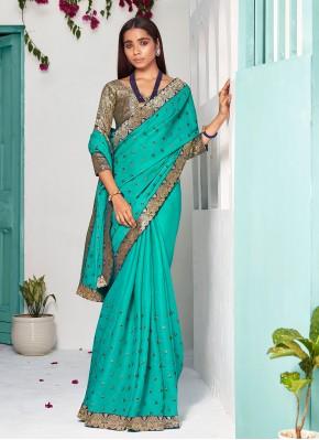 Silk Lace Traditional Designer Saree in Sea Green