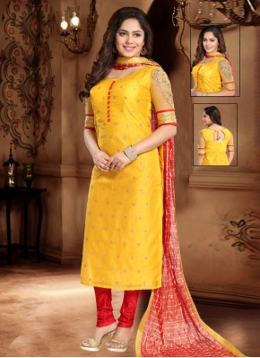 Silk Lace Trendy Salwar Suit in Yellow