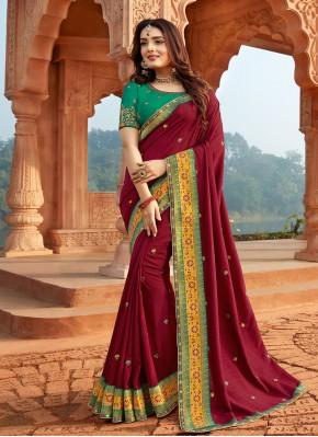 Silk Magenta Designer Traditional Saree