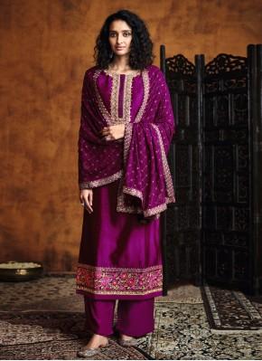 Silk Magenta Embroidered Designer Palazzo Salwar Kameez