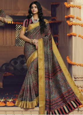 Silk Multi Colour Printed Classic Designer Saree