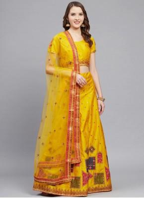 Silk Mustard Trendy Lehenga Choli
