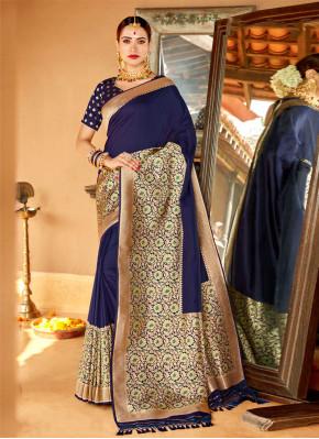 Silk Navy Blue Weaving Classic Saree