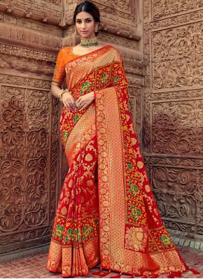 Silk Orange and Red Trendy Saree