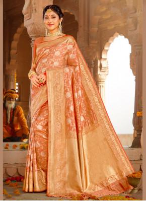 Silk Orange Weaving Designer Saree