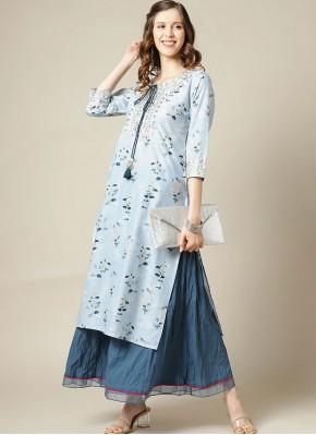 Silk Party Wear Kurti in Blue