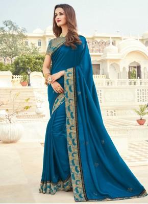 Silk Patch Border Blue Designer Saree