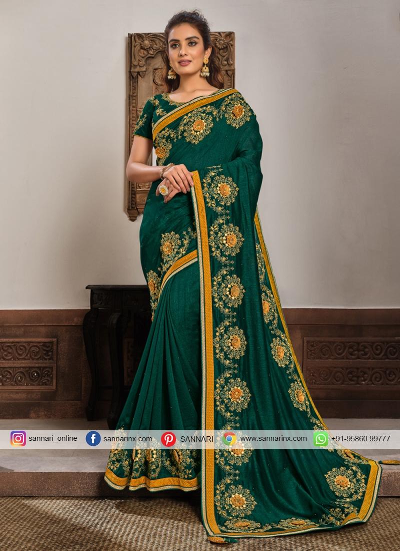 Silk Patch Border Classic Designer Saree in Green