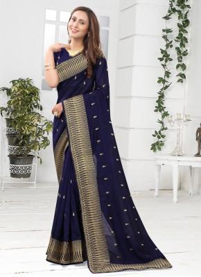 Silk Patch Border Designer Saree in Navy Blue