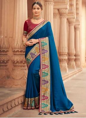 Silk Patch Border Designer Traditional Saree in Blue