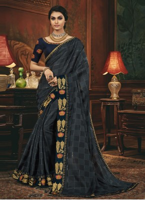 Silk Patch Border Designer Traditional Saree in Grey and Navy Blue