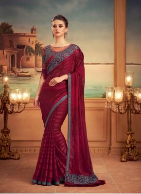 Silk Patch Border Designer Traditional Saree in Maroon