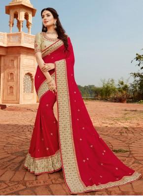 Silk Patch Border Red Designer Traditional Saree