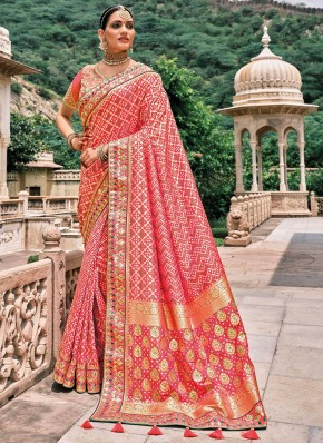 Silk Patch Border Traditional Saree in Pink