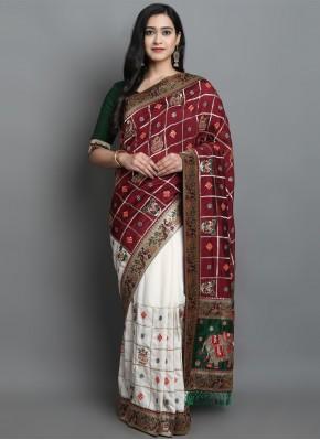 Silk Patola Print Maroon and Off White Designer Traditional Saree