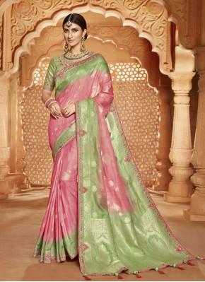 Silk Pink Embroidered Classic Designer Saree