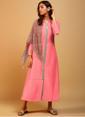 Silk Plain Party Wear Kurti in Pink