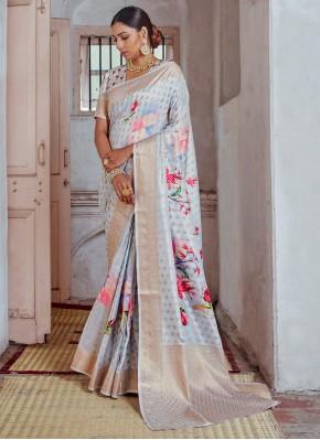Silk Print Classic Designer Saree in Multi Colour