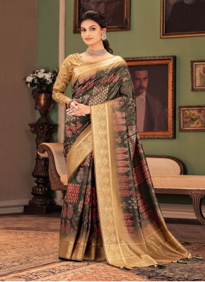 Silk Printed Multi Colour Designer Traditional Saree