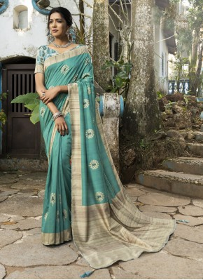 Silk Printed Traditional Saree in Sea Green