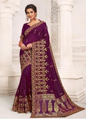 Silk Purple Designer Saree