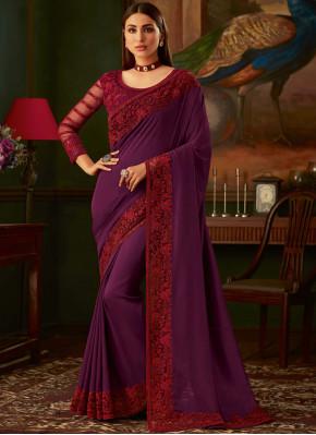 Silk Purple Embroidered Classic Designer Saree