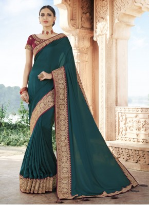 Silk Rama Patch Border Traditional Designer Saree