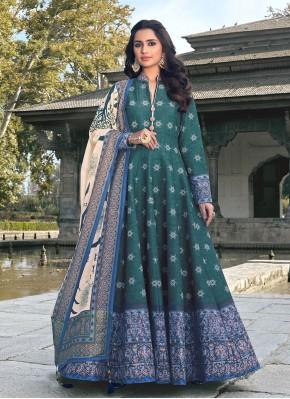 Silk Readymade Anarkali Suit in Green