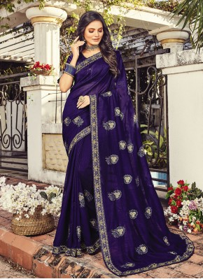 Silk Resham Blue Traditional Saree