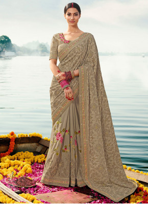 Silk Resham Classic Saree in Beige