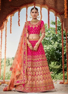 Silk Resham Designer Lehenga Choli in Pink