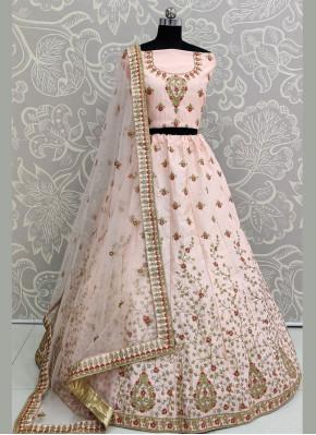 Silk Resham Lehenga Choli in Pink