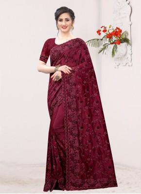 Silk Resham Maroon Traditional Saree