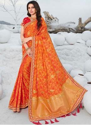 Silk Resham Orange Designer Saree