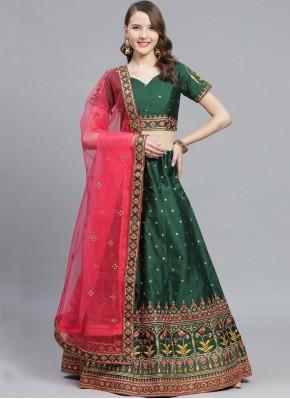 Silk Sea Green Embroidered Bollywood Lehenga Choli