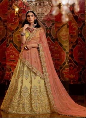 Silk Semi Stitched Suit Material in Gold and Peach
